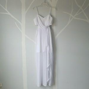 BCBGgeneration White ruffled chiffon dress